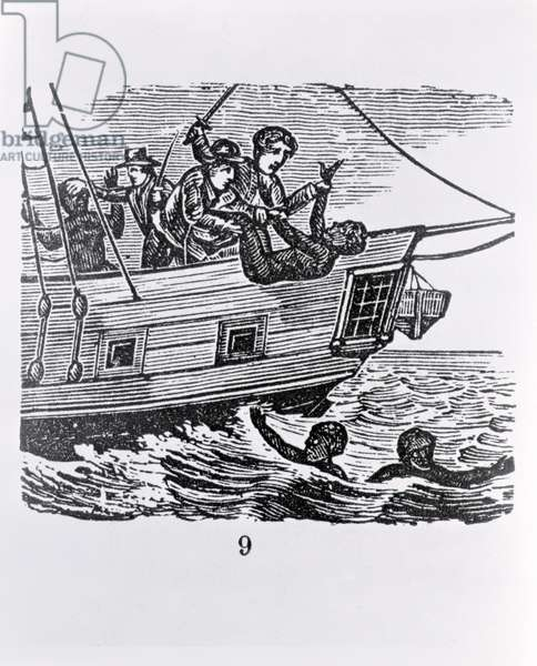Sailors throwing slaves overboard, from Torrey's 'American Slave Trade', 1822 (engraving) (b&w photo)