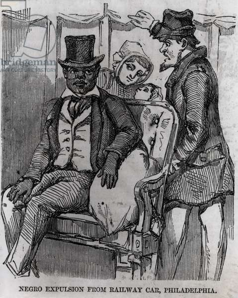 Negro Expulsion from a Railway Car, Philadelphia, from 'The Illustrated London News', 27th September 1856 (engraving) (b/w photo)