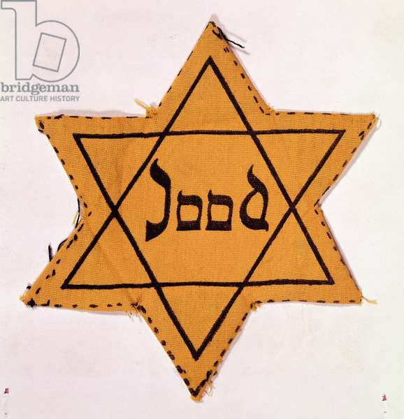 Star of David cloth patch, printed
