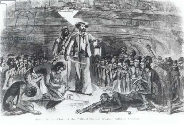 Scene in the Hold of the Slave Ship, 'Gloria', from 'Revelation of a Slave Smuggler', 1853, engraved by Drake (engraving) (b&w photo)