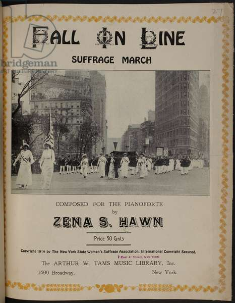 Photographic image showing Suffragates marching in New York.