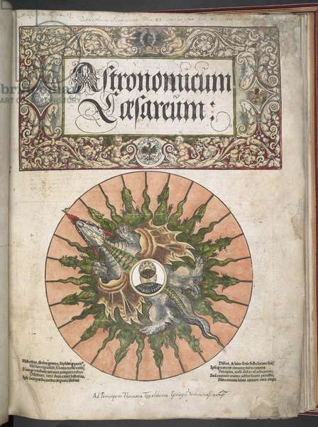 Maps C.6.d.5. Title Page to Volvelle 'Astronomicum Caesareum...', 1540 (ink & colour on vellum)