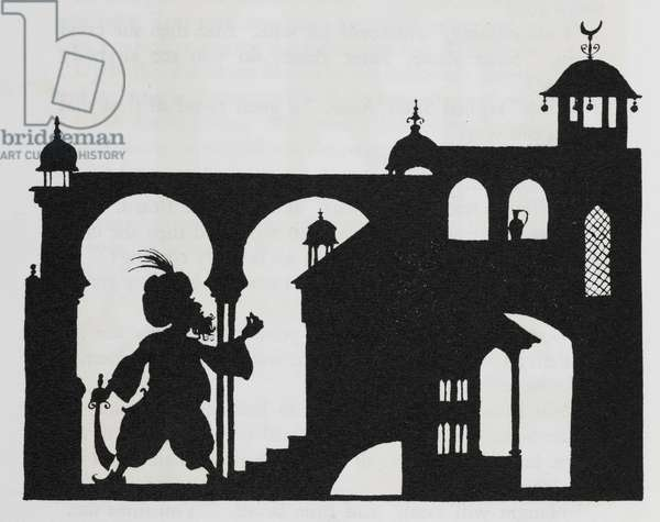 Silhouette of a palace with Blue Beard chasing his wife with a sword.