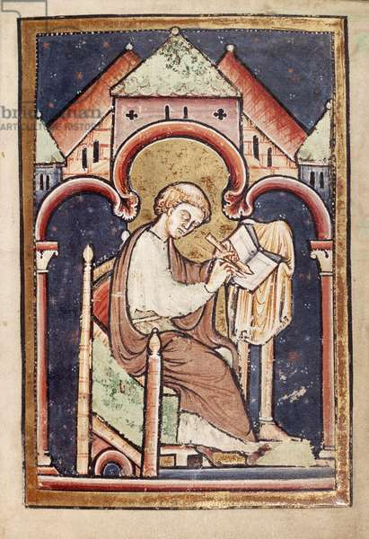 Add 39943 f.2 A scribe (probably Bede) writing, from 'Life and Miracles of St. Cuthbert' by Bede, Latin (Durham) (vellum)