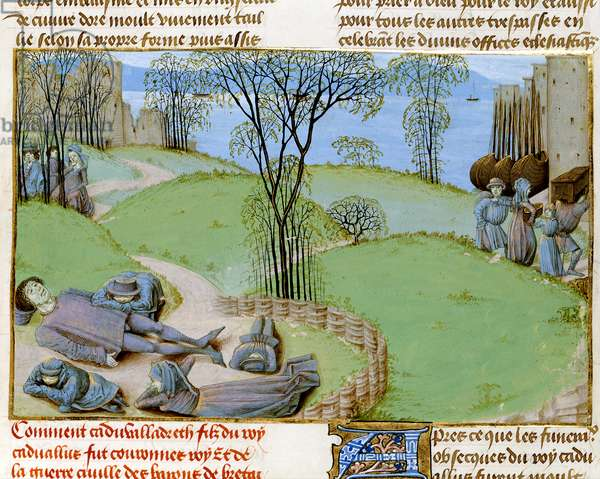 Ms. Royal 15 E.IV fol.187  Deaths from famine, from 'Chroniques d'Angleterre' by Jean de Wavrin, c.1470-80 (vellum)