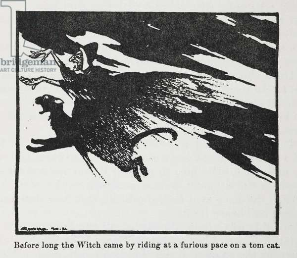 Before long the Witch came by riding at a furious pace on a tom cat'.