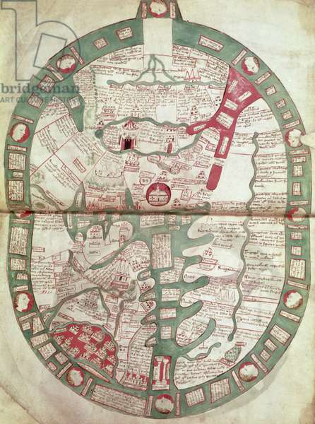 Roy.Ms.14 C. f.1 1v-2r Map of the World with Jerusalem as the Centre, Polychronicon, c.1380 (vellum)