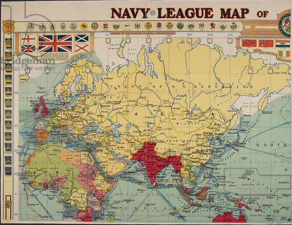 Top left corner of a map relating to the British empire.