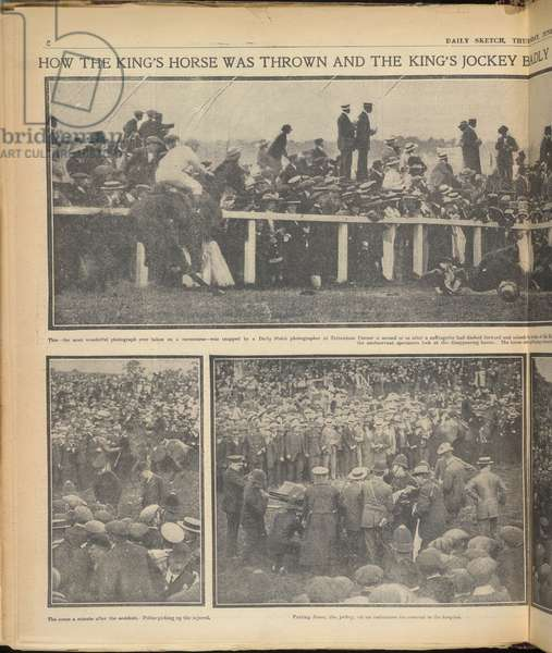 How the King's horse was thrown and the king's jockey badly injured by a suffragette during yesterday's Derby'.