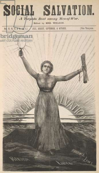 Figure of a woman holding up a mirror and a document with the title 'lunacy laws'.