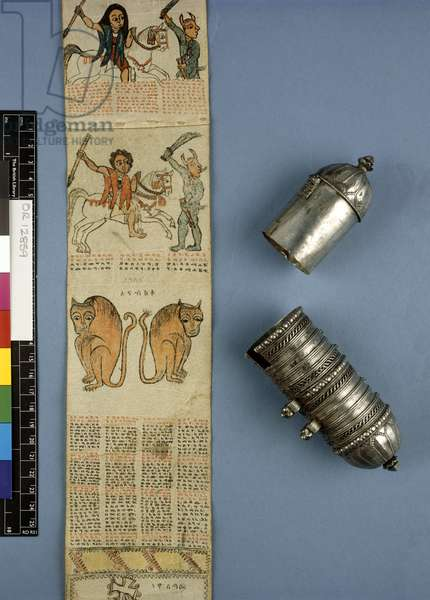 Or. 12859 Protective amulet scroll in a cylindrical silver case (paper & silver)