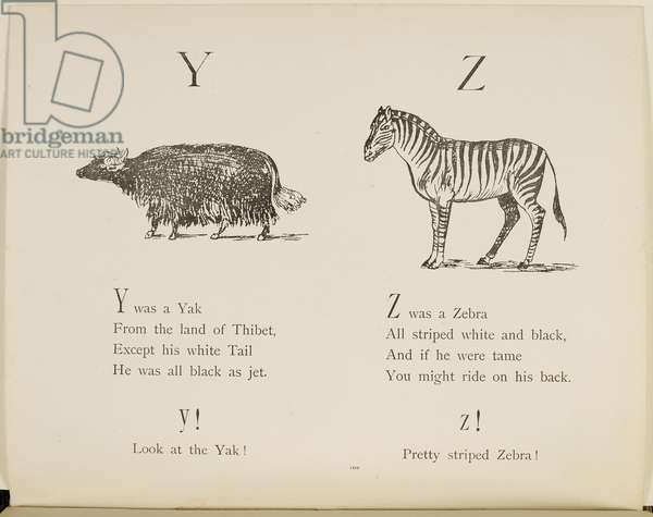 Yak and Zebra Illustrations and verses from Nonsense Alphabets drawn and written by Edward Lear.