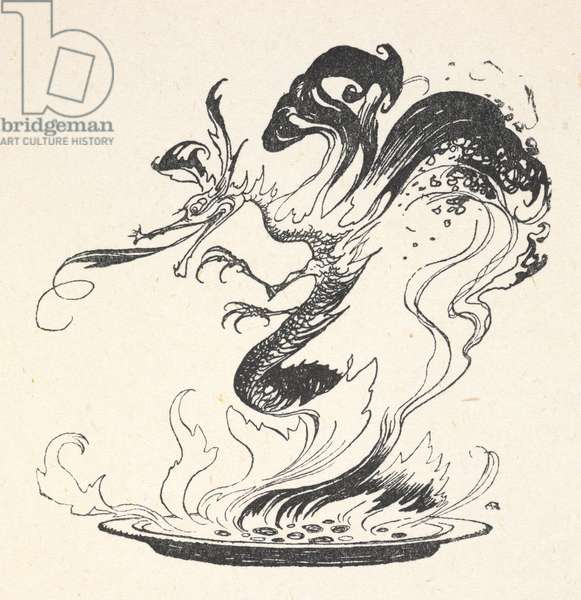 A dragon emerging from a plate of burning money