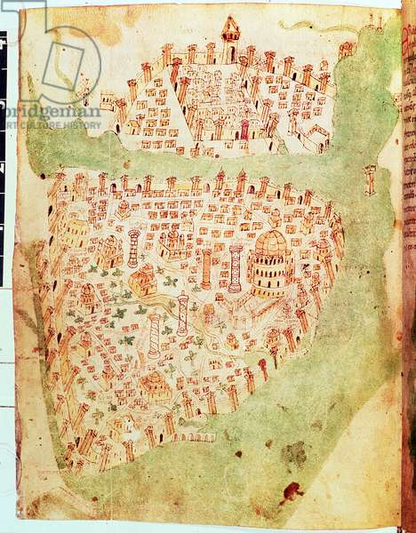 Cotton Vespasian A. XIII, f.36v: Map of Constantinople, c.1450 (vellum)