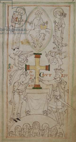 King Canute and Queen Aelfgyfu, attended by two angels, place a cross on the altar of the New Minster, watched by a group of monks in their stalls. Above is Christ in a mandorla, between the patron saints of the New Minster, St. Mary the Virgin and St. Peter.