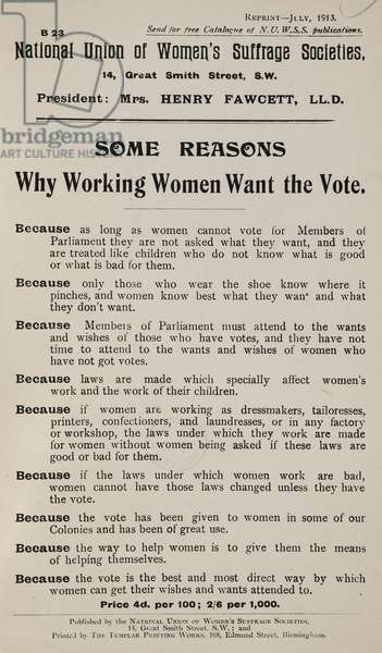 'Some reasons why working women want the vote'. A list.