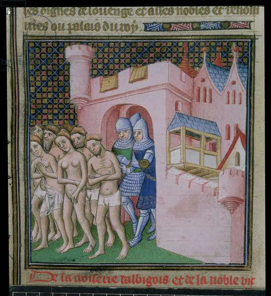 Cott Nero E II pt2 f.20v The expulsion of the Albigensians from Carcassonne: Catharist heretics of the 12th and 13th centuries, from `The Chronicles of France, from Priam King of Troy until the crowning of Charles VI', 15th century