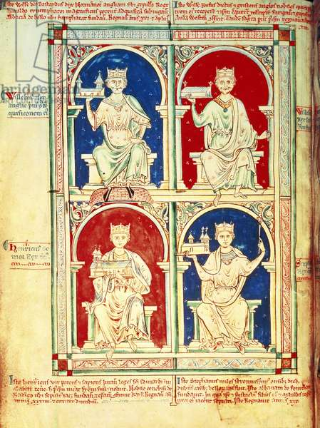 Four Kings of England: William I, William II, Henry I and Stephen, from the 'Historia Anglorum', 1250 (vellum)