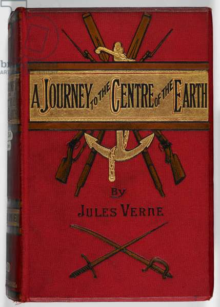 Illustrated front cover of the science fiction novel by Jules Verne.