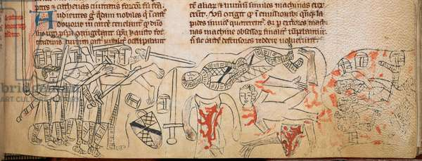 The Battle of Evesham and death of Simon de Montfort, 4th August 1265, illustration from 'Chronica Roffense', by Matthew Paris (vellum)