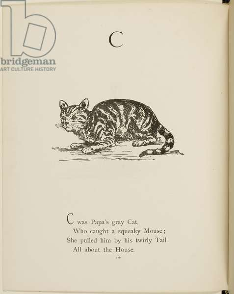 Cat Illustrations and verses from Nonsense Alphabets drawn and written by Edward Lear.
