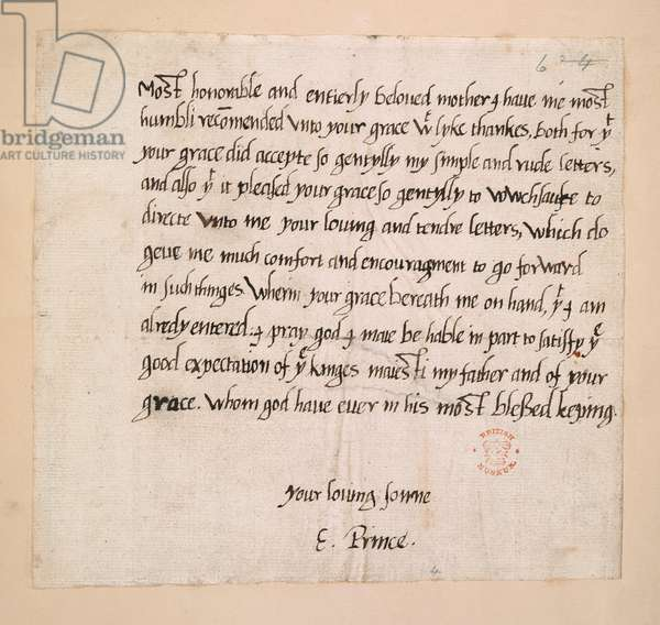 Letter from Prince Edward to Katherine Parr, thanking her for encouraging his studies