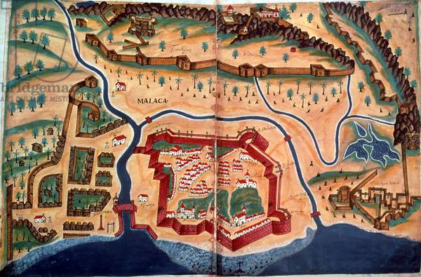 Sloane 197, ff.381v-382r: Plan of the city of Malacca, from 'Livro do Estado de India Oriental', 1646 (pen & ink with w/c)