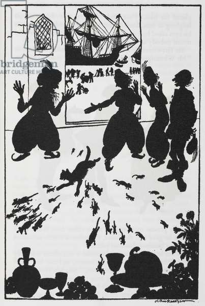 Silhouette illustration of mice and cats running from a ship and people from Dick Whittington.