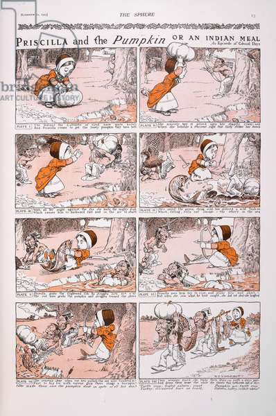 'Priscilla and the pumpkin, or an Indian meal. An episode of colonial days'. A carton strip.