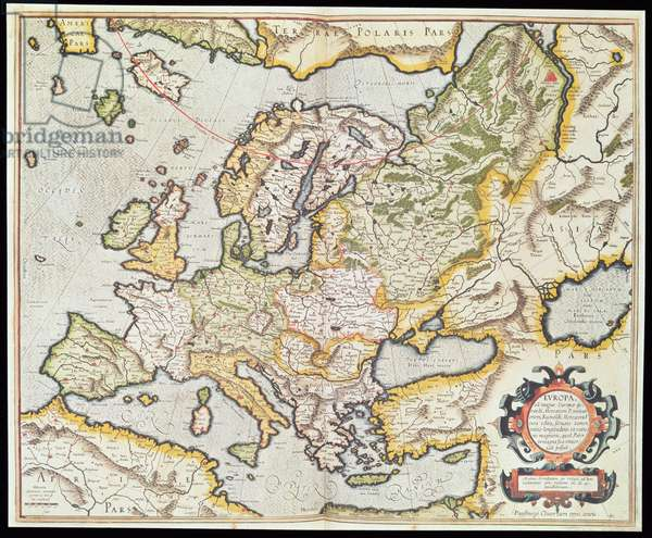 Map of Europe, c.1554 (handcoloured engraving)