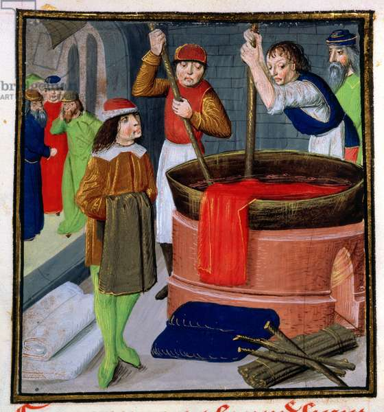 Roy 15 E III f.269 Dyeing cloth, from Des Proprietes des Choses by Bartholomeus Anglicus, 1482 (vellum)