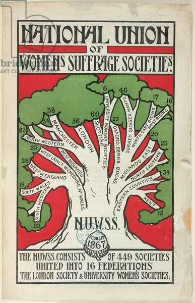 Pamphlet for 'Women's Suffrage Societies', 1909 (colour litho)