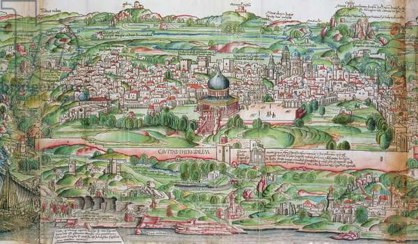 Map of the City of Jerusalem, from 'Peregrinatio in Terram Sanctam' by Bernhard von Breydenbach (1440-97), 1486 (etching)