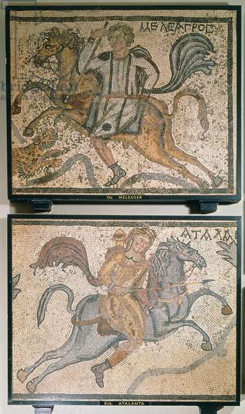 Roman mosaic, depicting Meleager and Atalanta, 4th century (mosaic)