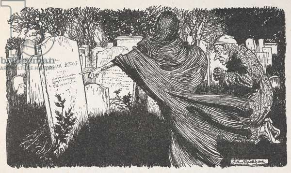 Scrooge and a ghost in a graveyard at night.
