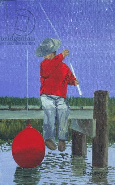 George is Fishing (oil on canvas)