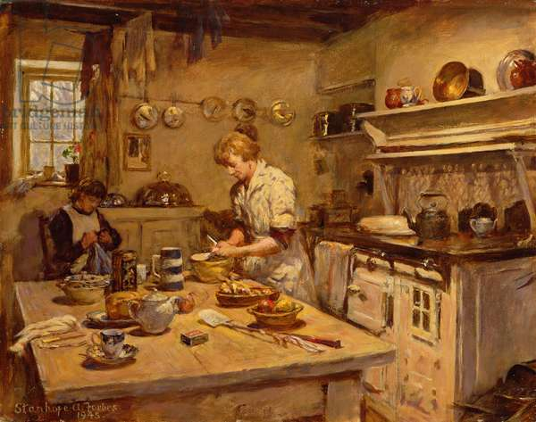 In the Kitchen, 1945 (oil on canvas)