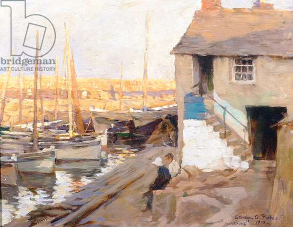 Mousehole Harbour, 1910 (oil on canvas)