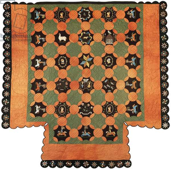 Quilt, 1830-–35 (wool plain weave, pieced, embroidered & quilted)