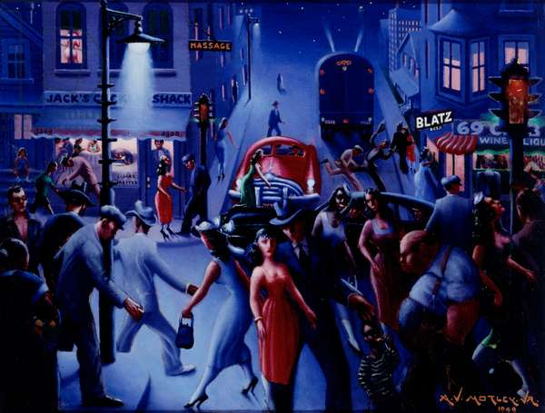 Bronzeville at Night, 1949 (oil on canvas)