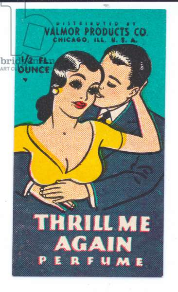 A perfume label for 'thrill me again' perfume with a image of a black couple embracing, c.1920 (colour litho)
