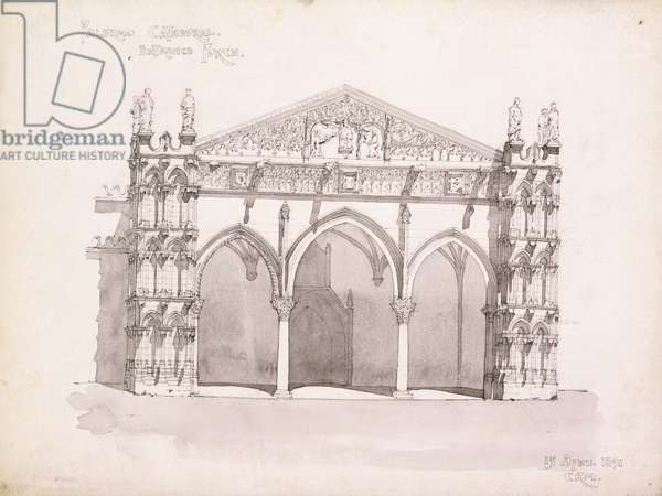 Palermo Cathedral, Study of the Entrance Porch, 1891 (pencil, grey wash)
