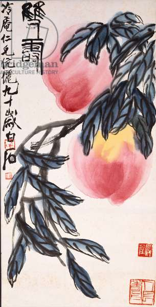 Two Peaches (hanging scroll, ink and colour on paper)