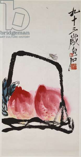 Peaches and Insect (hanging scroll, ink and color on paper)
