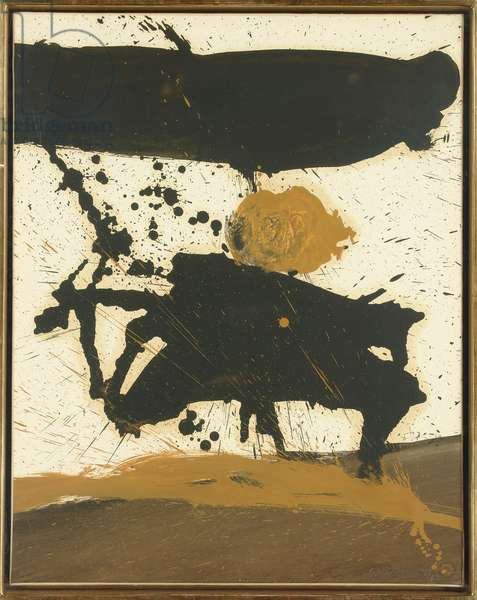 In Black, with Yellow Ochre, 1960 (oil on paper laid down on canvas)