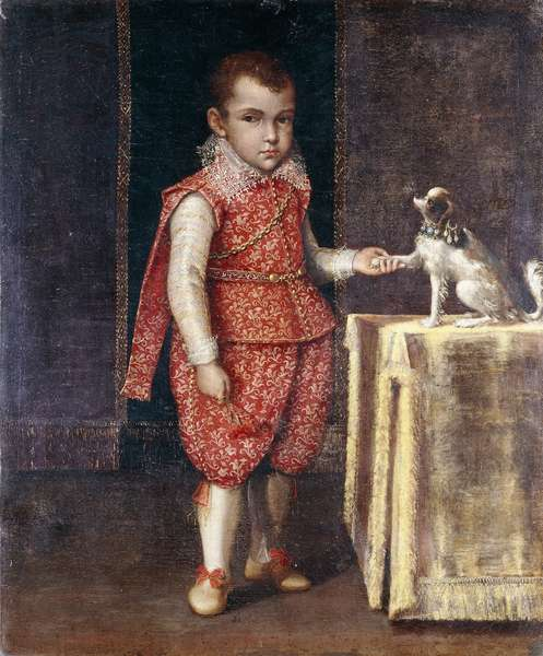 Portrait of a Boy, full-length, wearing a silver-embroidered red costume, holding the paw of a spaniel on a table,  (oil on canvas)