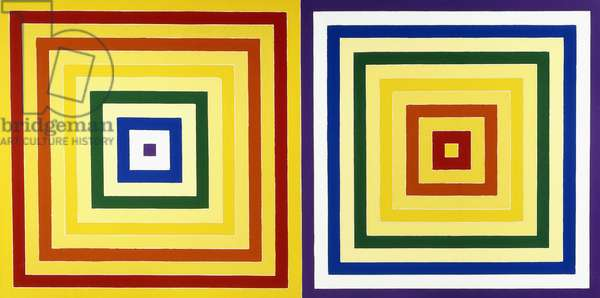 Double Scramble: Descending Yellow Values/ Ascending Spectrum -  Descending Spectrum/ Ascending Yellow Values, 1978 (liquitex on canvas)