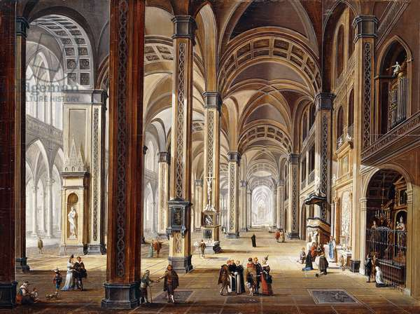 The Interior of a Renaissance Cathedral,  (oil on panel)
