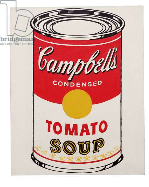 Campbell's Soup Can (Tomato) 1962 (graphite & casein on canvas)