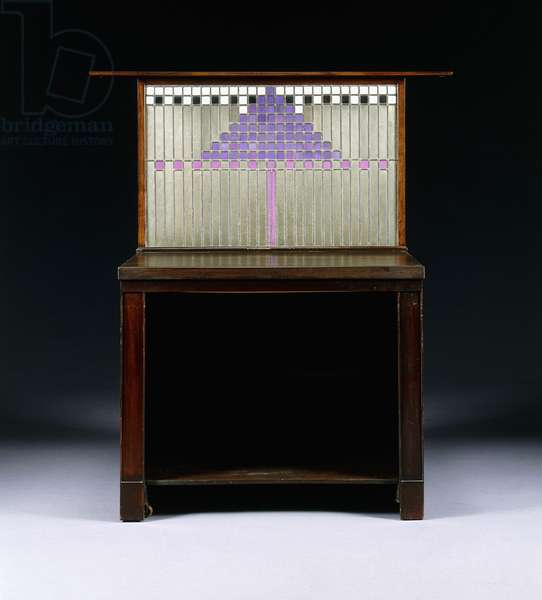 A writing cabinet designed for Walter W. Blackie Esq., Hill House, Edinburgh, 1904 (mahogany, mother of pearl, metal, leaded glass, ivory, ceramic)